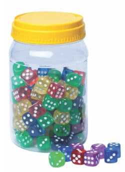 6-Sided Dot Dice – Assorted Colours – 100 PC