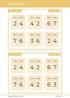 Beginner Bingo – Two Digit Place Value