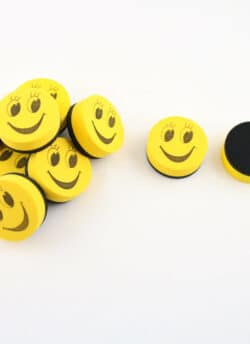 Magnetic Mini Smiley Erasers – Pack of 10