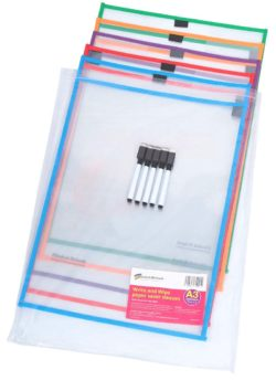 Write 'N' Wipe Paper Saver Sleeves A3 and Pens – Pack of 5